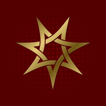 Sacred geometric symbol of seven pointed star plexus. Golden mandala logo.