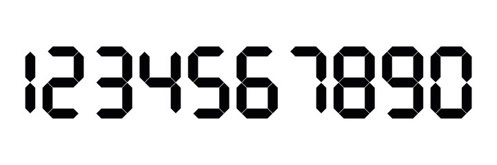 Black digital numbers. Seven-segment display is used in calculators, digital clocks or electronic meters. Vector illustration