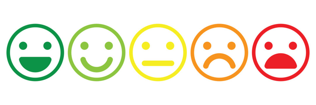 Basic emoticons set. Five facial expression of feedback scale - from positive to negative. Simple colored vector icons