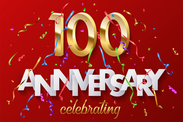 100 golden numbers and Anniversary Celebrating text with colorful serpentine and confetti on red background. Vector celebration 100th anniversary event horizontal template.