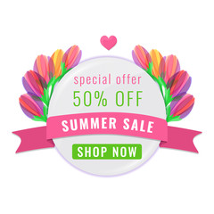 Summer sale circle banner with multi-colored tulips flowers. Floral design for promotion. Vector illustration