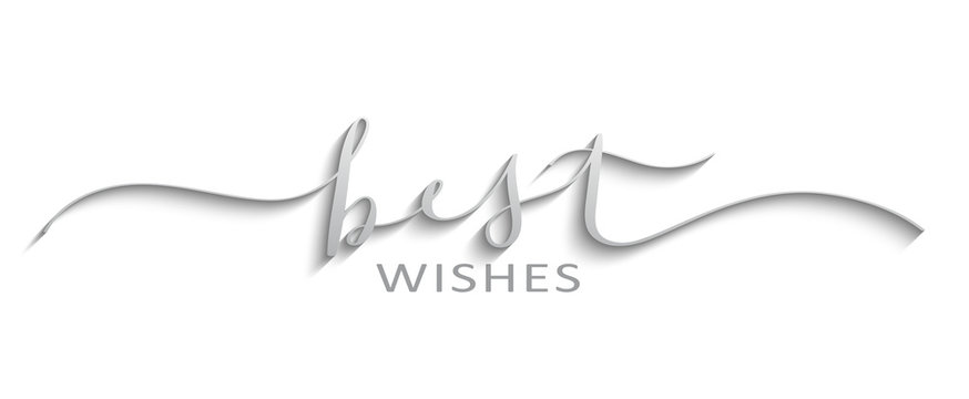 BEST WISHES silver brush calligraphy banner