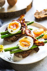 Bacon ,Seared Aspargus and Soft boiled egg  on Rye bread Sandwich
