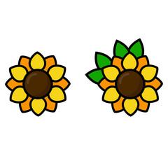 cartoon sunflowers set vector
