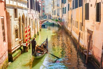 Italy. Venice. Gondola on the picturesque canals in Venice.