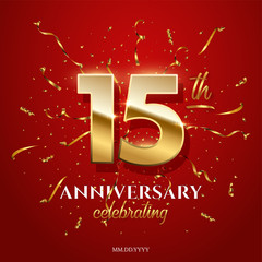 15 golden numbers and Anniversary Celebrating text with golden serpentine and confetti on red background. Vector fifteenth anniversary celebration event square template.