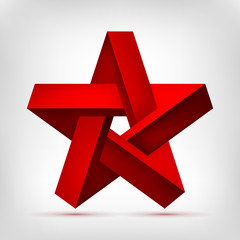 Pentagonal illusion red star. Five-pointed unreal shape, nonexistent geometry object, abstract vector design