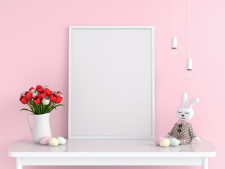 Blank photo frame for mockup on table, easter concept, 3D rendering