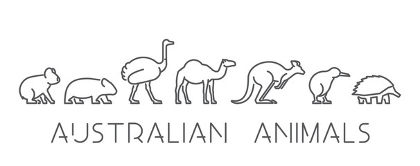 Vector set of linear Australian animals