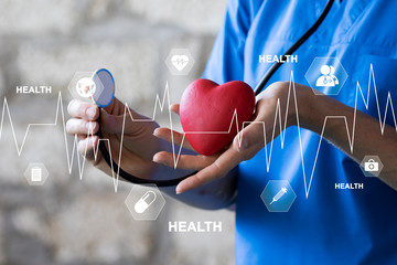 Doctor pressing button health heart pulse healthcare on virtual panel medicine