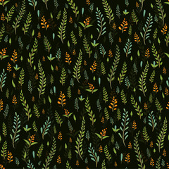 Seamless vector pattern with sprigs of plants on a dark background