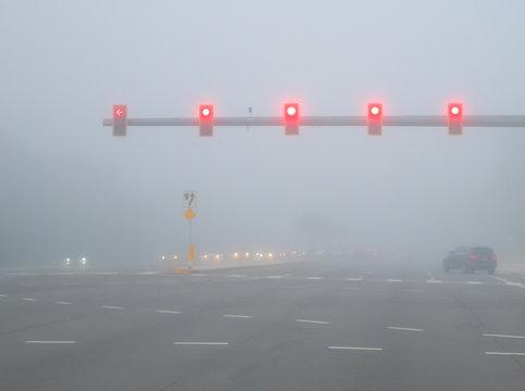 Big road and morning fog
