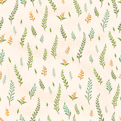 Seamless vector pattern with sprigs of plants on a light background