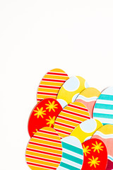 Postcard with easter eggs printables isolated on white background, top view. Image with copy space.