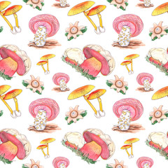 Watercolor seamless pattern with fungus mushrooms