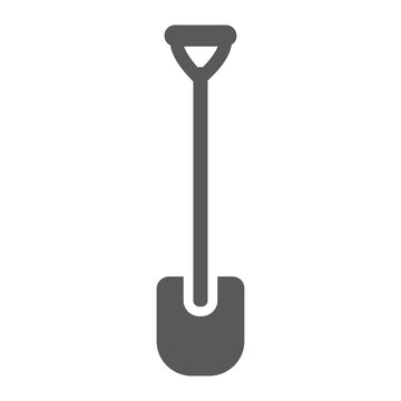 Shovel glyph icon, tool and farm, digger sign, vector graphics, a solid pattern on a white background.