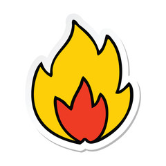 sticker of a cute cartoon fire
