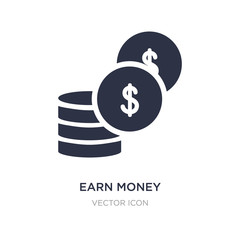 earn money icon on white background. Simple element illustration from UI concept.