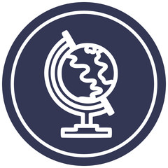 globe map circular icon