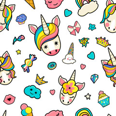 Pattern with cute faces of unicorns, ice cream, stars, hearts, donut, rainbow, crowns, cupcake.