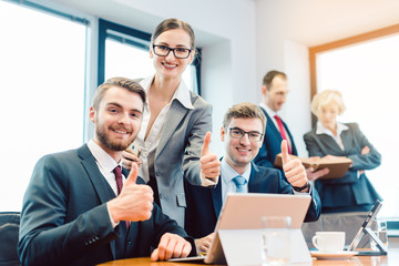 Successful businesspeople working as a team in the office