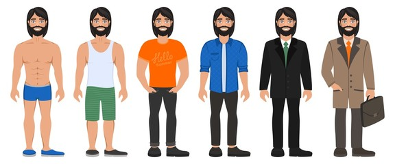 Smiling handsome man in different types clothes. Casual, formal and business style. Bearded long haired guy with blue eyes. Cartoon male characters standing on a white background. Flat vector image.