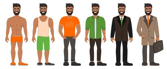 Smiling handsome bearded man in different types clothes. Casual, formal and business style. Brown eyes, dark skin and black hair. Cartoon male characters standing on a white background. Vector image.