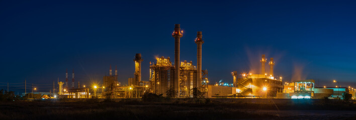 Panoramic images of power plants during the night.