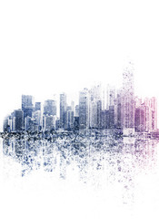 city skyline illustration abstract skyscraper skyline  -