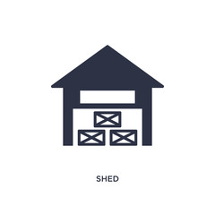 shed icon on white background. Simple element illustration from agriculture farming and gardening concept.