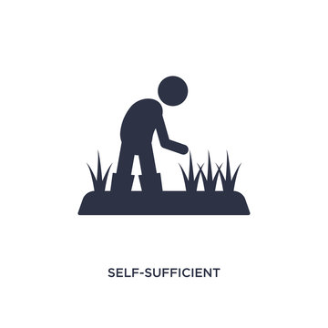 self-sufficient icon on white background. Simple element illustration from agriculture farming and gardening concept.