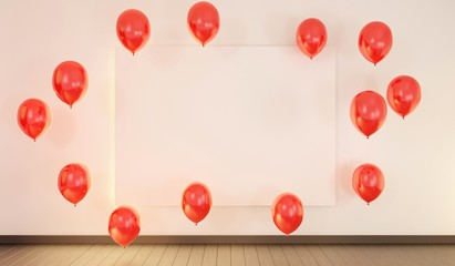 Empty frame on a wall with red flying balloons and wooden floor. Art template. 3D rendering.