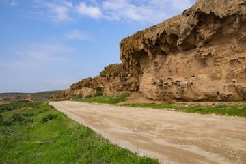 Akamas Peninsula - Cyprus, rock wall panorama and road