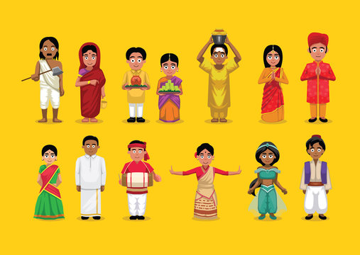 Indian Various People Costume Cute Character Illustration Set
