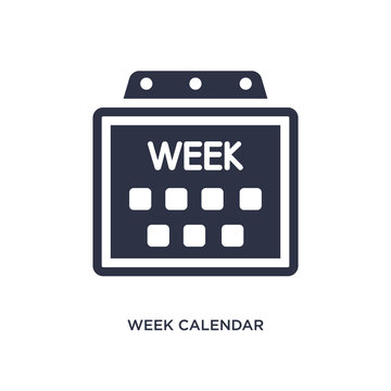 week calendar icon on white background. Simple element illustration from airport terminal concept.