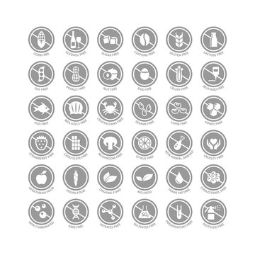 Food ingredients free, gluten, dairy free, organic, vegetarian food label set. Corn, soy, alcohol, sugar free circle vector badge sign set for packaging instructions.