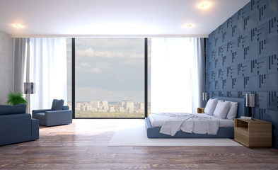 Modern grey bedroom interior. 3D rendering