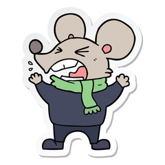 sticker of a cartoon angry mouse