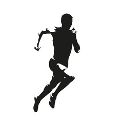 Running man, isolated vector silhouette. Sprinting runner, side view