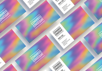 Business Card Layout with Holographic Background