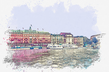 Watercolor sketch or illustration of a beautiful view of Stockholm in Sweden. Cityscape or urban skyline