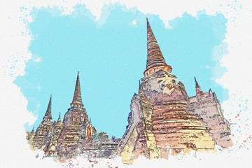 Watercolor sketch or illustration of a beautiful view of the ancient architecture of Wat Phra Si Sanphet in Ayutthaya in Thailand