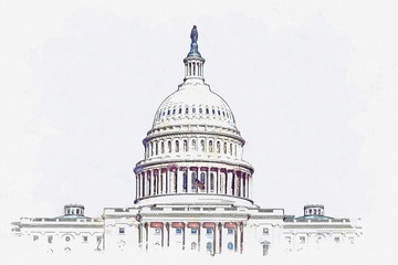 Watercolor sketch or illustration of a beautiful view of the US Capitol building in Washington DC in the USA Wall mural