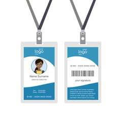 Plastic and Laminated Badge or id card, front and back view