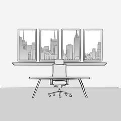 Empty office room concept