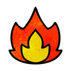 retro grunge texture cartoon fire