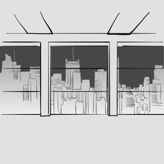 Office with big windows and skyline in background