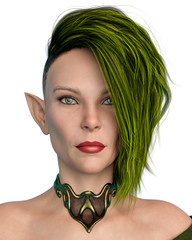 Elf Queen with a green hair front portrait in a white background