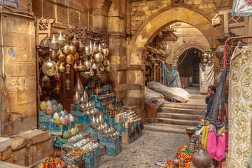 Lamp or Lantern Shop in the Khan El Khalili market in Islamic Cairo Papier Peint