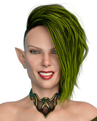 Elf Queen with a green hair smiling portrait in a white background